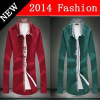 HOT SALE 2014 new fashion men shirts cotton plus size fashionable casual man long-sleeve shirt casual shirt 0404L