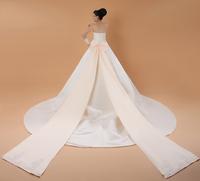 Bride satin 2014 train wedding dress tube top wedding dress embroidery lace bow 2013