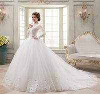 2014 summer long-sleeve royal vintage lace slim princess bride short trailing