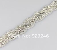 free shipping 2.2cm silver clear crystal rhinestone chain hotfix DIY wedding dress clothes hat collar garment sewing decoration