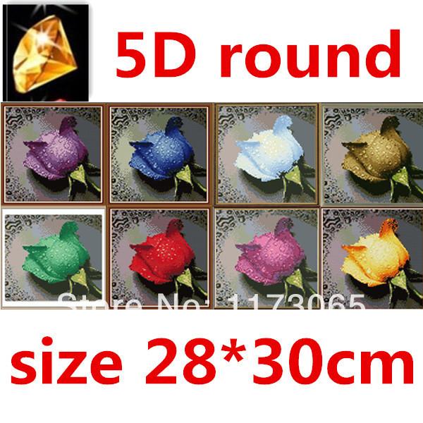 Needle DIY 5D resin round diamond cross stitch Diamond painting kit nonfull embroidery water rose Kits DIY factory direct sale(China (Mainland))