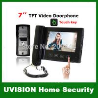 7 inch TFT Monitor LCD Color Video Doorphone doorbell intercom touch key 750TVL CMOS Camera Rainproof Outdoor Unit free shipping