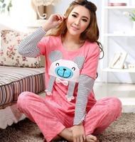 2014 Spring New Arrival,Free Shipping,Cartoon Splice Red Sleeve Sleepwear set,Nice Sleeping Wear Set,100% Cotton Night Sleepwear