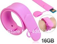 Silicone Slap Wristband 8GB/16G USB Flash Drive (Pink)