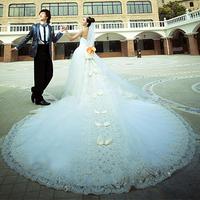 The bride wedding dress formal dress white 2014 long trailing tube top plus size racerback bandage luxurious lace long