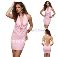 2014 New Summer Dress Women'S Sexy Deep V-neck backless mini dress clubwear for women free shipping plus size XXL