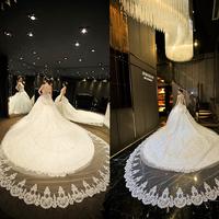 2014 luxury sparkling diamonds sexy spaghetti strap double-shoulder bow big train wedding dress