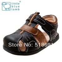 2014 spring and summer classic genuine leather children sandals child baby male child black leather 7503