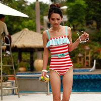 pardustrade Ruffle vintage stripe one piece triangle small push up swimwear female hot spring swimwear
