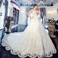 2014 crystal glass diamond one hunsha shoulder and luxurious train wedding dress 1182