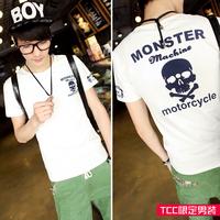Tcc 2014 summer skull letter print short-sleeve slim male short-sleeve T-shirt f