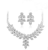 New Silver Plated Rhinestone Choker Collar Flower Leaf Shape Necklace Earring Set  Bridal Jewelry