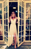2014 New Evening Dresses A-line V-neck Cap Sleeves Split Lace Chiffon Sexy Formal Evening Party Dresses