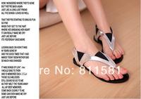 Free Shipping Flat Color Block Word Flip Brief Comfortable Flat Heel Flip-flop Shoes Women Sandals Flats Woman New 2014