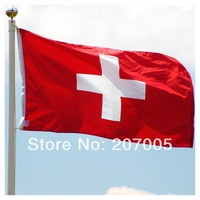 Free Shipping Swiss Flag NEW 100% Polyester Switzerland Flag  3x5 ft Flag of Switzerland 90x 150cm Switzerland National Flag
