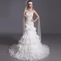 Fish tail the bride wedding dress the most 2014 formal dress short trailing plus size tube top vintage slim bandage