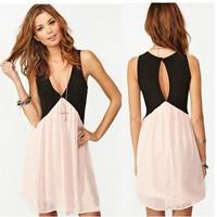 Promotions 2014 Fashion Women's Spring Summer Print High Quality Elegant Chiffon V-neck Sleeveless Splice One-piece Dress LYQ005