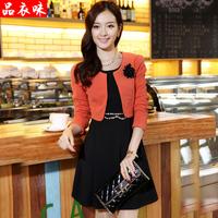 2014 spring and autumn elegant slim gentlewomen twinset corsage one-piece dress