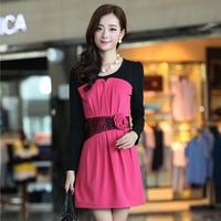 2014 spring puff sleeve elegant involucres slim basic women's one-piece dress