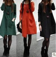 2014 elegant plus size clothing irregular loose long-sleeve dress