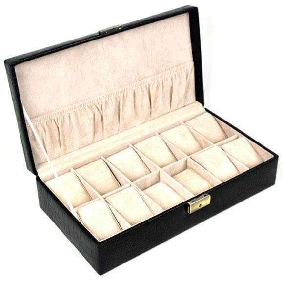 12-pillow wood + PU leather large watch storage box watch display box gift black color M223(China (Mainland))