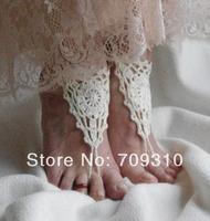 Wedding crochet barefoot sandals Cream Wedding Barefoot Sandals, Bellydance, Steampunk, Beach Pool, Boho