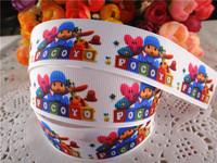 "2014 new arrival 1"" (25mm) Pocoyo printed grosgrain ribbon cartoon ribbons hair accessories 10 yards WQ2014040436"