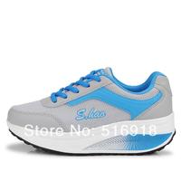 Fashion Mesh Women Sports Shoes 2014 New Summer Breathing Women Wedges High Heel Swing Shoes  Weight Losing Euro 35-40