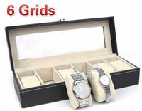 6 grids Leather Watch Jewelry Display Storage Case Box