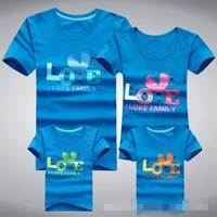 3pc/lot lover t shirt 2014 summer i love family tees mum+dad+baby clothing women/kids/men tops MASHA BF36