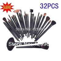 High quality 32 pcs Cosmetic Facial Make up Brush Kit Wool Makeup Brushes Tools Set Black Leather Case