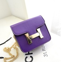 Spring and summer candy color solid color one shoulder cross-body h women's handbag mini bag