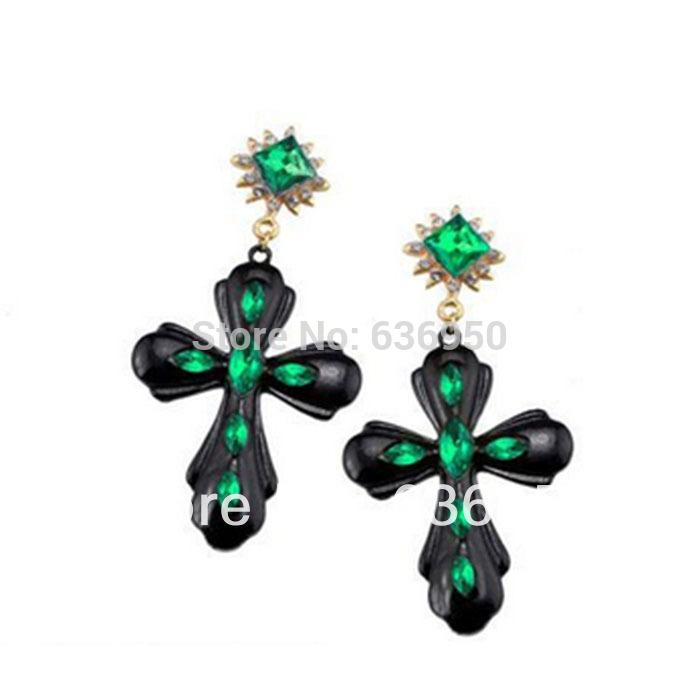 STYLE FASHION Europe big fashion personalized casted stones large acrylic cross earrings(China (Mainland))