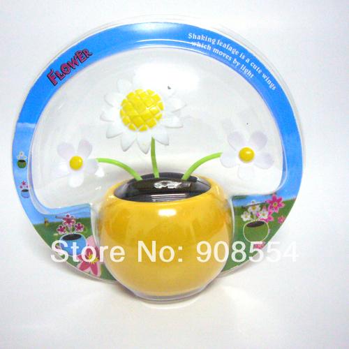 The Newest Style Wholesale 12 Pcs Per Lot Magic Cute Three Flowers Happy Dancing Flip Flap Car Decoration Solar Flowers(China (Mainland))