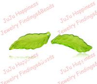 500pcs/lot Fashion 29*11MM Acrylic Green Leaf Shape Loose Plastic Plantic Beads Free Shipping cy007