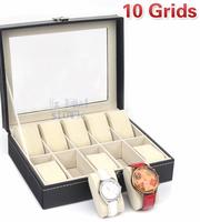 10 grids Leather Watch Jewelry Display Storage Case Box