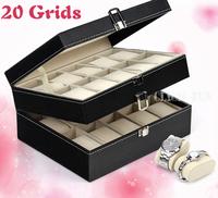 20 grids Leather Watch Jewelry Display Storage Case Box