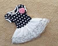 Dark blue and pink short sleeve dots stripe flower kids girls fashion dresses girl dress 2013 summer free shipping