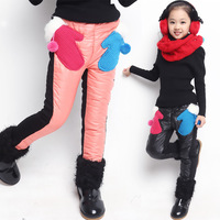 2014 new autumn winter children's clothing fashion girls cartoon glooves pants trousers 6-14