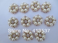Free shipping PEARL RHINESTONE BUTTONS FLAT BACK,20PCS/LOT