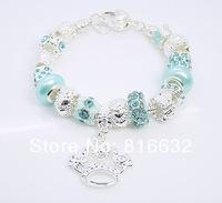 New 2014 European beads snake Chain Bracelet&Bangle for Women With Murano Glass Beads free Shipping 925 Silver Charm bracelet