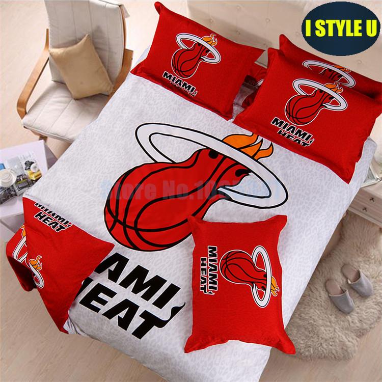 cartoon miami heat basketball team bedding set bed set cotton in red