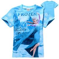 Wholesale New 2014 Summer Frozen Princess Girl t shirt Fashion Elsa Princess Frozen Girls Clothing Kid t-shirt