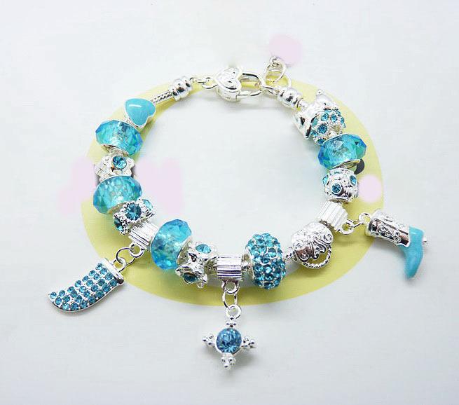 Fashion European Silver Plated women's Charm Bracelet & Bangle,pan white beads bracelet DIY with charm Murano Glass Beads(China (Mainland))