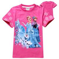 Wholesale New 2014 Summer Kids Clothing Frozen Girls Clothing Girl t shirt Fashion Children t shirts Frozen Princess Kid t-shirt