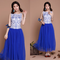 Freeshipping 2014 Spring full dress embroidery blue and white porcelain vintage pleated one-piece dress tank dress