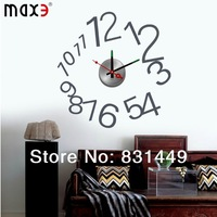 2014  new  Creative Modern Big DIY 3D Digital Mirror Sticker Wall Clock Creative  Arabic numbers Freeshipping