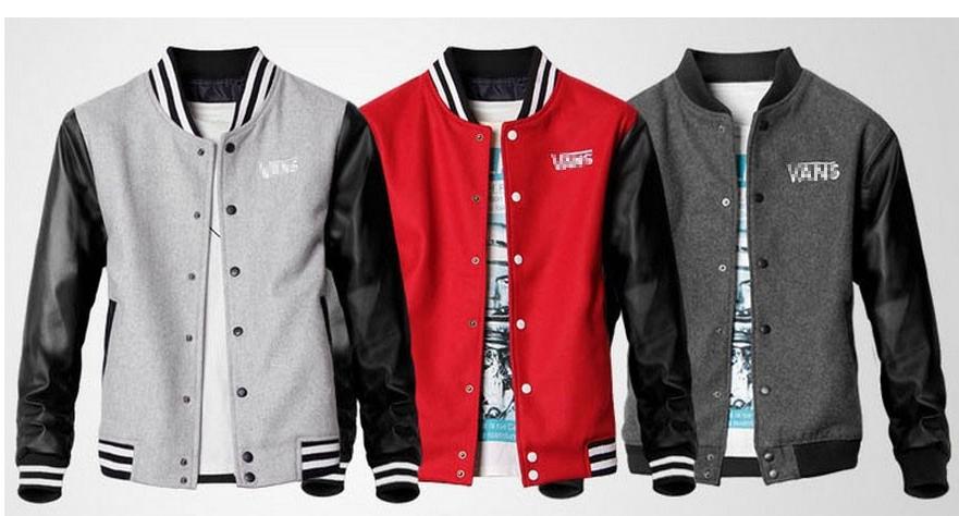 Va men's west coast WOOL THICK brand PU leather sleeve jacket baseball uniform coat skateboard plus size(China (Mainland))