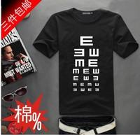 Lovers male Women summer print visual acuity chart  short-sleeve 100% cotton T-shirt Men's o-neck t-Shirt S-XXXL