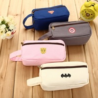 Fashion brief super large capacity canvas pencil case pen bag stationery bags